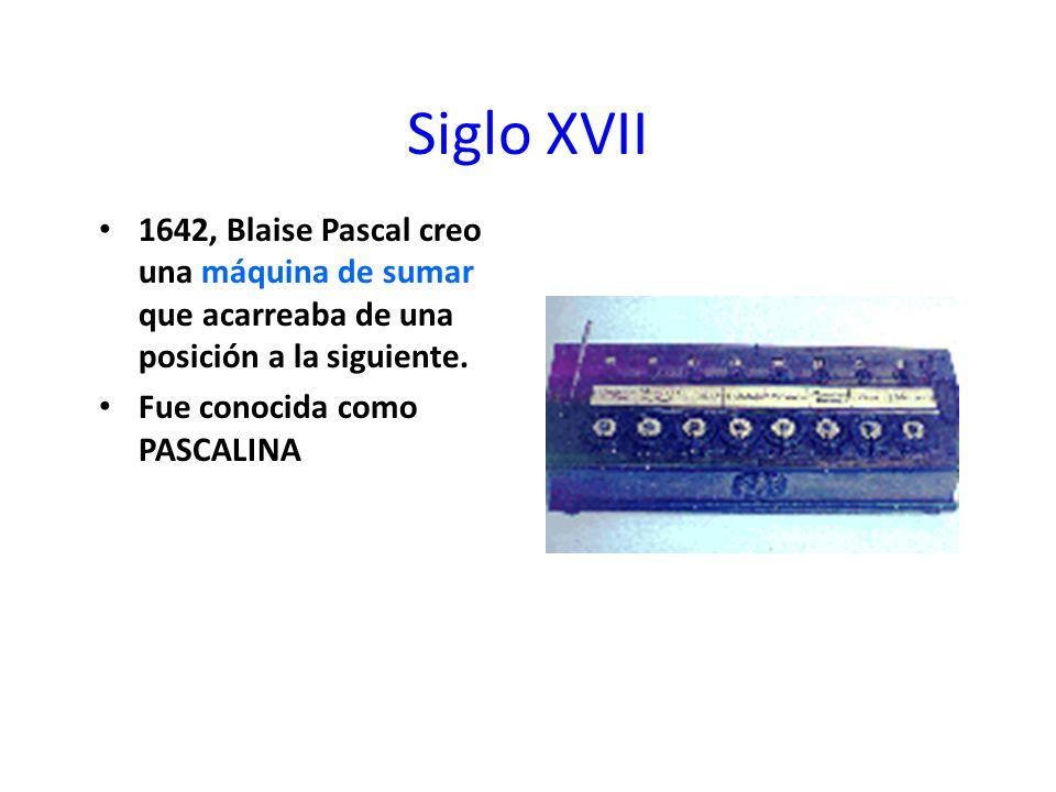 Siglo XVII 1642, Blaise Pascal creo una máquina de sumar que acarreaba de una posición a la siguiente. Fue conocida como PASCALINA