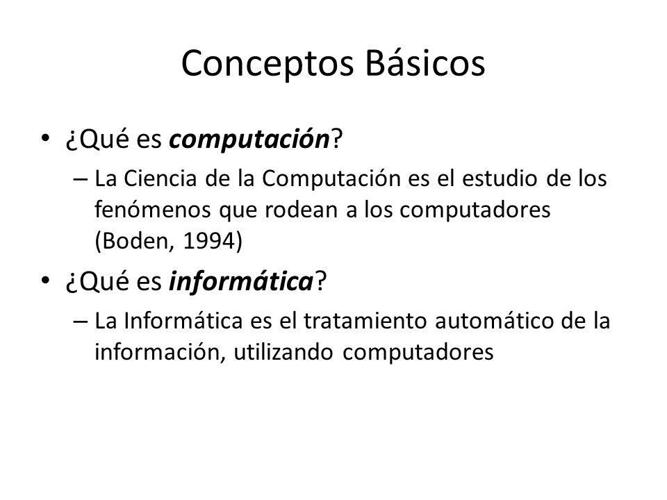 Conceptos Básicos ¿Qué es computación? – La Ciencia de la Computación es el estudio de los fenómenos que rodean a los computadores (Boden, 1994) ¿Qué