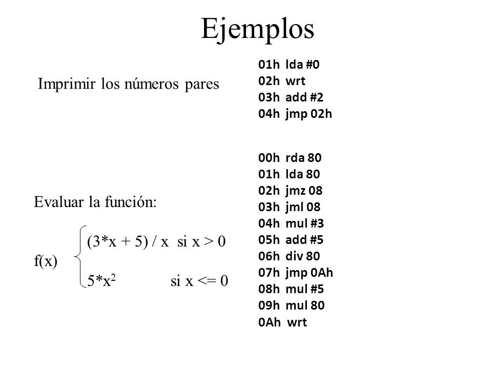 Ejemplos 01h lda #0 02h wrt 03h add #2 04h jmp 02h Imprimir los números pares Evaluar la función: (3*x + 5) / x si x > 0 f(x) 5*x 2 si x <= 0 00h rda