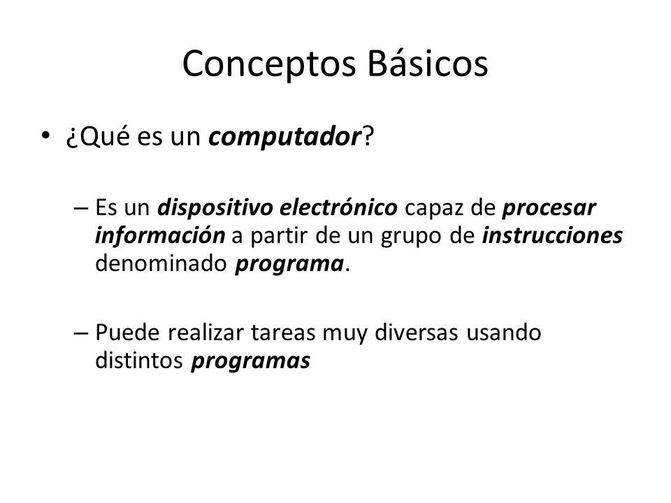 Conceptos Básicos ¿Qué es un computador? – Es un dispositivo electrónico capaz de procesar información a partir de un grupo de instrucciones denominad