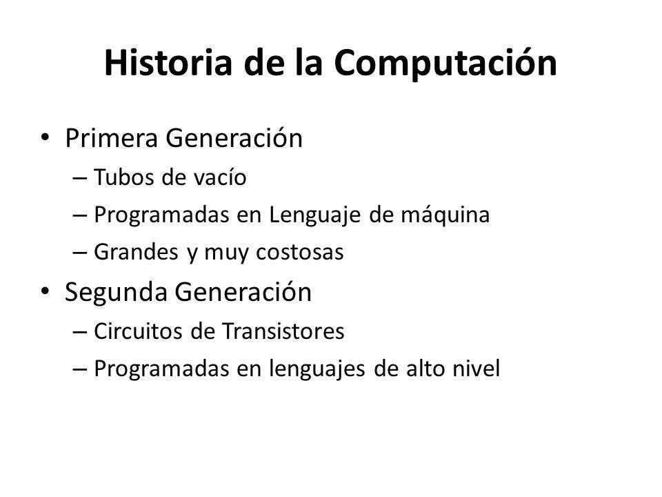Historia de la Computación Primera Generación – Tubos de vacío – Programadas en Lenguaje de máquina – Grandes y muy costosas Segunda Generación – Circ