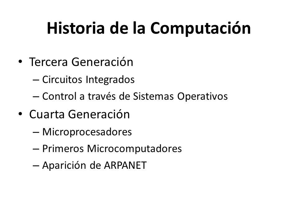 Historia de la Computación Tercera Generación – Circuitos Integrados – Control a través de Sistemas Operativos Cuarta Generación – Microprocesadores –