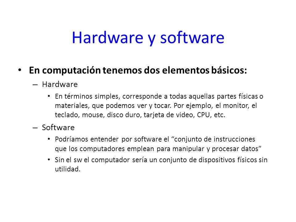 Hardware y software En computación tenemos dos elementos básicos: – Hardware En términos simples, corresponde a todas aquellas partes físicas o materi