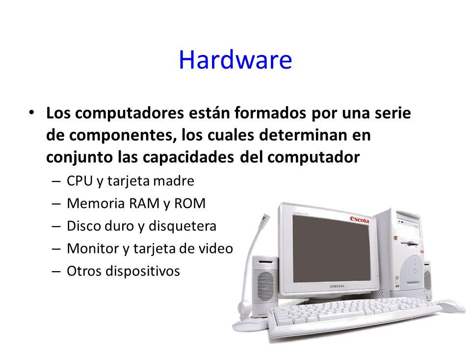Hardware Los computadores están formados por una serie de componentes, los cuales determinan en conjunto las capacidades del computador – CPU y tarjet