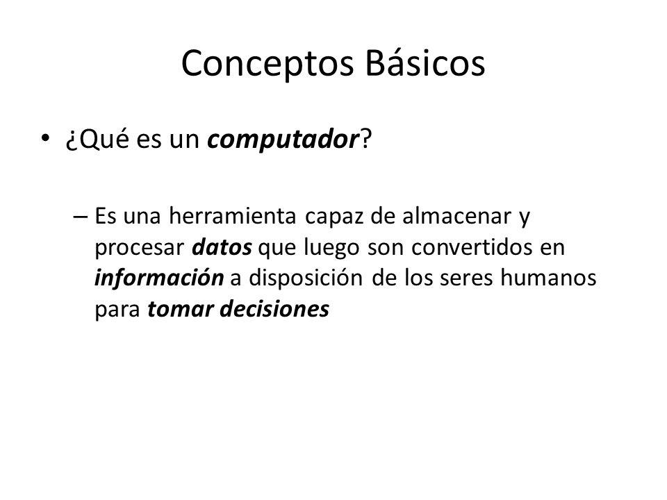 Conceptos Básicos ¿Qué es un computador? – Es una herramienta capaz de almacenar y procesar datos que luego son convertidos en información a disposici