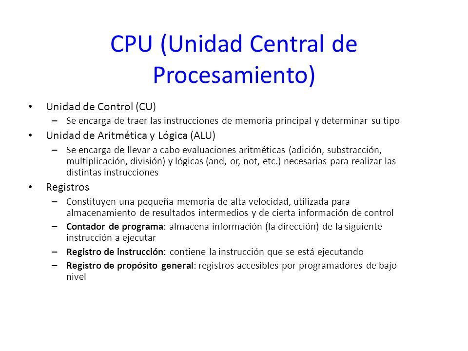 CPU (Unidad Central de Procesamiento) Unidad de Control (CU) – Se encarga de traer las instrucciones de memoria principal y determinar su tipo Unidad