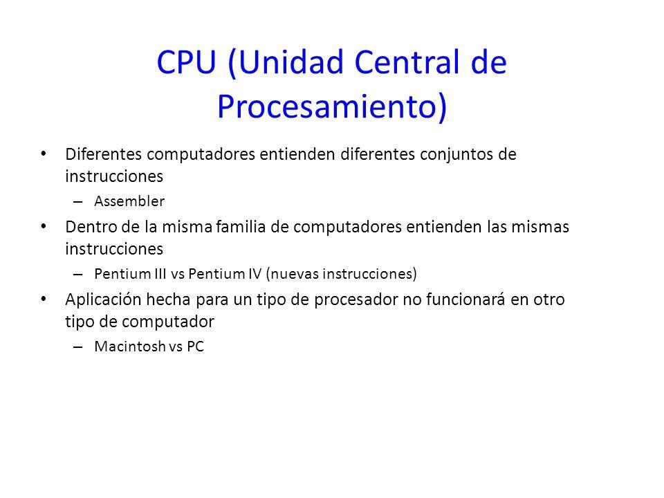 CPU (Unidad Central de Procesamiento) Diferentes computadores entienden diferentes conjuntos de instrucciones – Assembler Dentro de la misma familia d