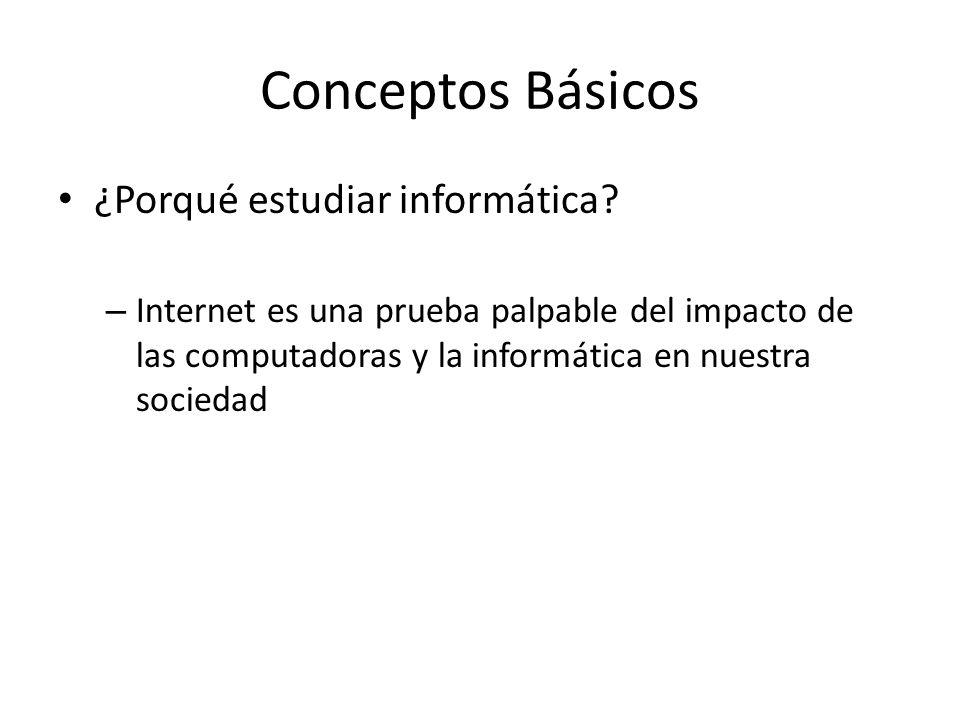 Conceptos Básicos ¿Porqué estudiar informática? – Internet es una prueba palpable del impacto de las computadoras y la informática en nuestra sociedad