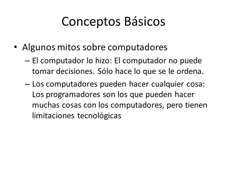 Conceptos Básicos Algunos mitos sobre computadores – El computador lo hizo: El computador no puede tomar decisiones. Sólo hace lo que se le ordena. –
