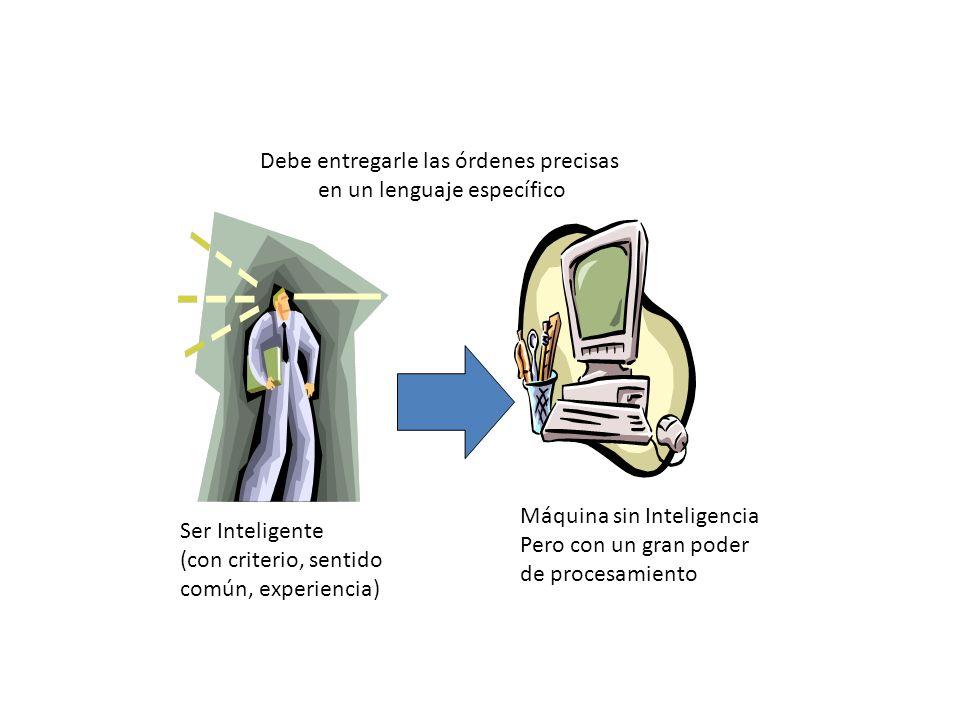 Ser Inteligente (con criterio, sentido común, experiencia) Máquina sin Inteligencia Pero con un gran poder de procesamiento Debe entregarle las órdene
