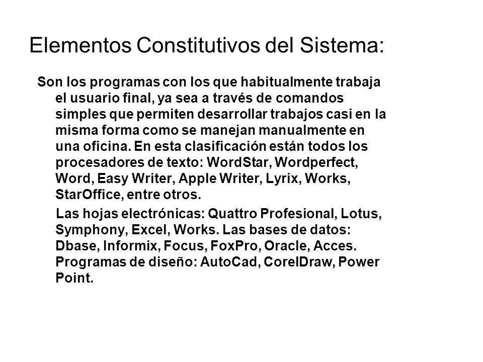 Elementos Constitutivos del Sistema: Son los programas con los que habitualmente trabaja el usuario final, ya sea a través de comandos simples que per