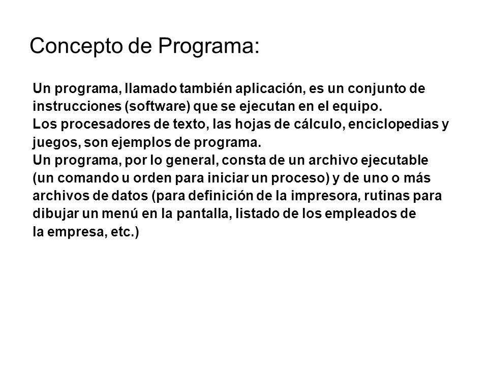 Concepto de Programa: Un programa, llamado también aplicación, es un conjunto de instrucciones (software) que se ejecutan en el equipo. Los procesador