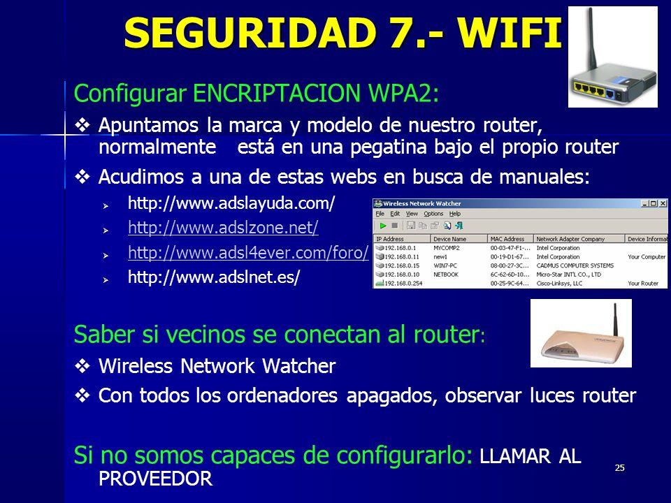 25 Configurar ENCRIPTACION WPA2: Apuntamos la marca y modelo de nuestro router, normalmente está en una pegatina bajo el propio router Acudimos a una