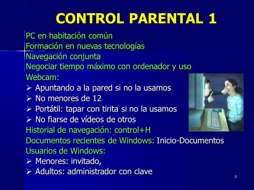 3 PC en habitación común Formación en nuevas tecnologías Navegación conjunta Negociar tiempo máximo con ordenador y uso Webcam: Apuntando a la pared s
