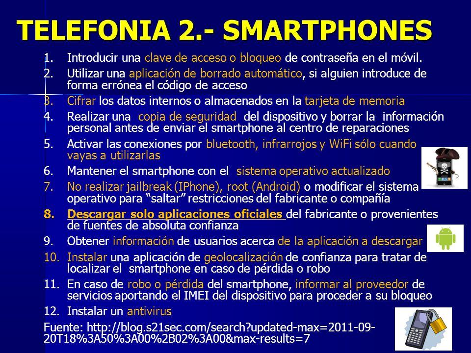 33 TELEFONIA 2.- SMARTPHONES 1.Introducir una clave de acceso o bloqueo de contraseña en el móvil. 2.Utilizar una aplicación de borrado automático, si