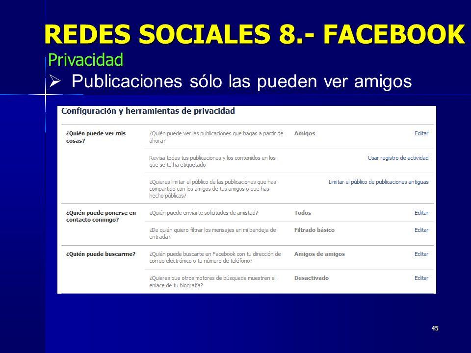 45 REDES SOCIALES 8.- FACEBOOK Privacidad Publicaciones sólo las pueden ver amigos