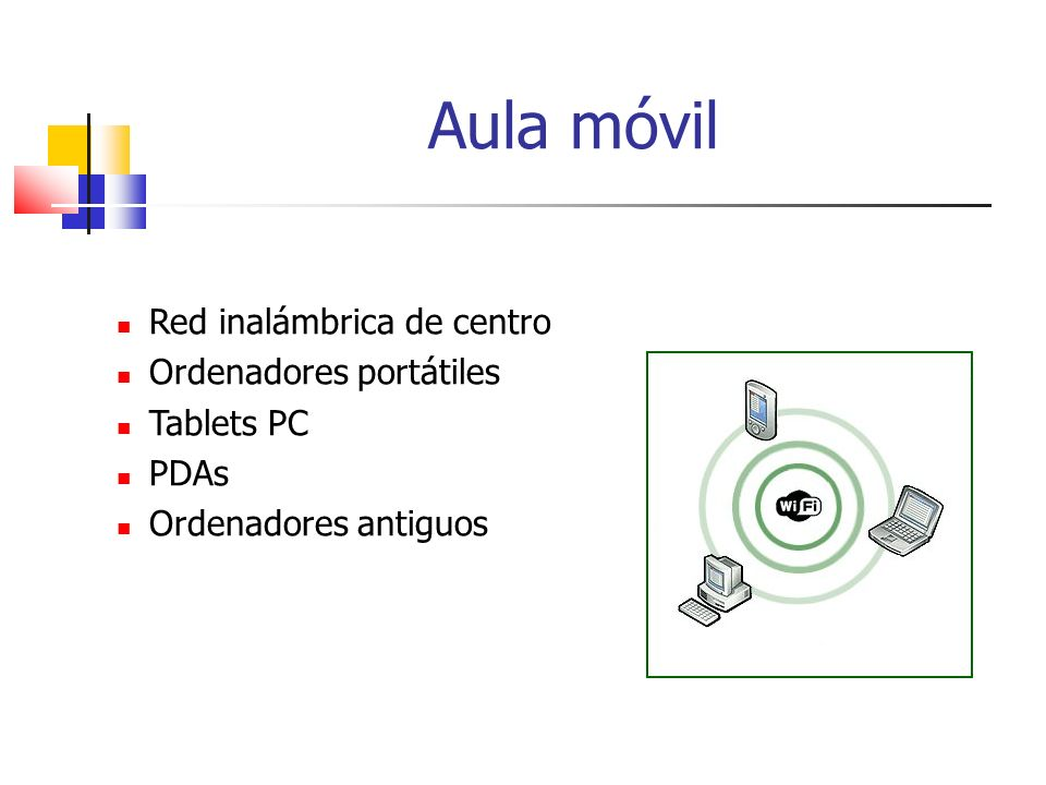 Aula móvil Red inalámbrica de centro Ordenadores portátiles Tablets PC PDAs Ordenadores antiguos