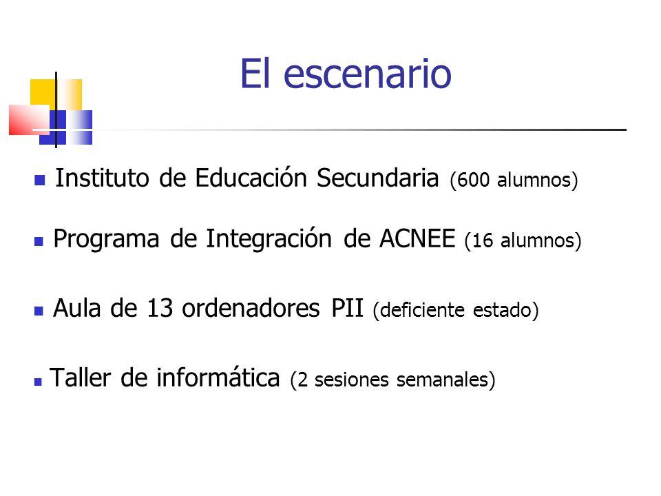 El escenario Instituto de Educación Secundaria (600 alumnos) Programa de Integración de ACNEE (16 alumnos) Aula de 13 ordenadores PII (deficiente estado) Taller de informática (2 sesiones semanales)