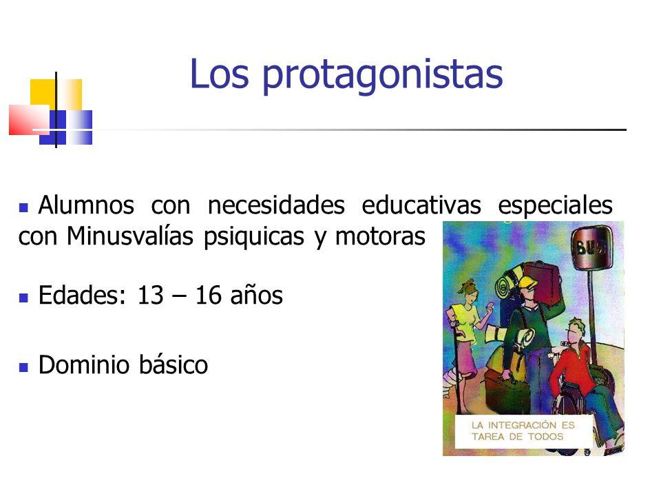 Los protagonistas Alumnos con necesidades educativas especiales con Minusvalías psiquicas y motoras Edades: 13 – 16 años Dominio básico