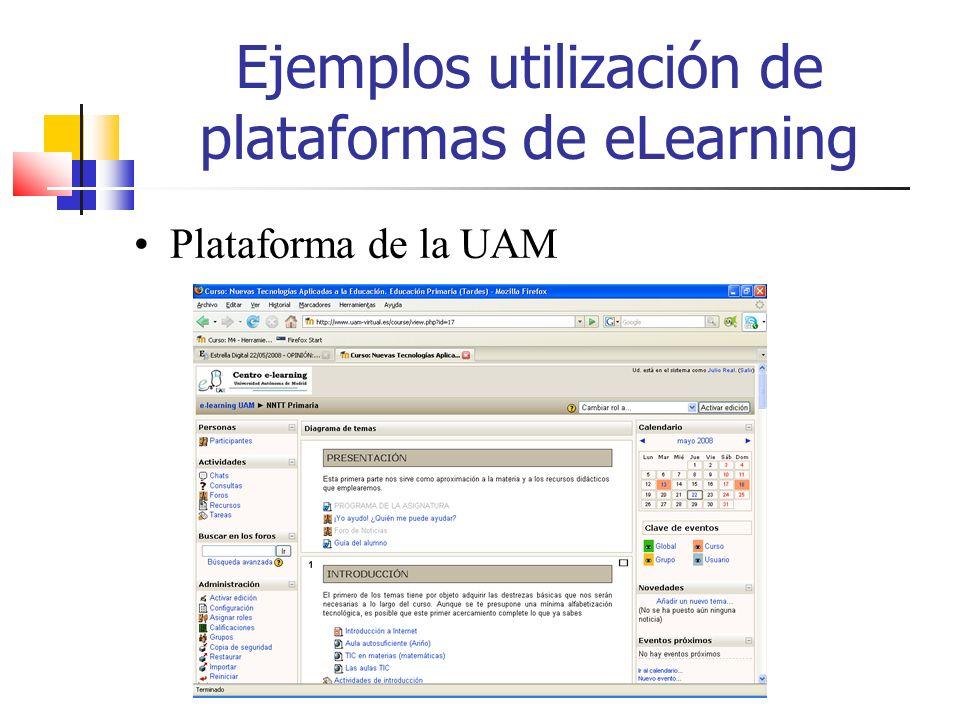 Ejemplos utilización de plataformas de eLearning Plataforma de la UAM