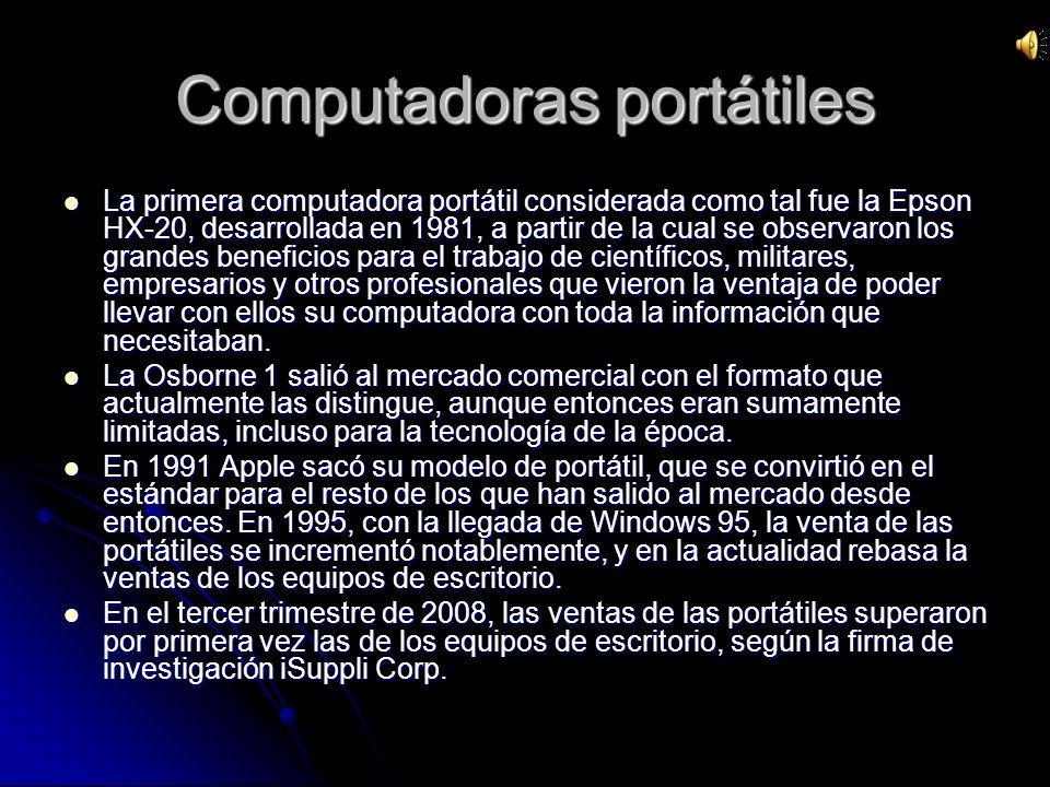 Un ordenador portátil es un ordenador personal móvil o transportable, que pesa normalmente entre 1 y 3 kg.