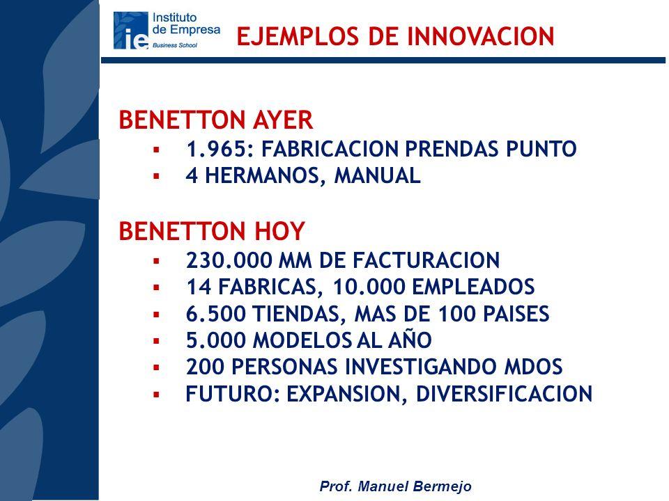 Prof. Manuel Bermejo LEVY STRAUSS & CO. 1.850 FIEBRE DEL ORO LEVY STRAUSS HOY - 60 FABRICAS - 4.000 MM $ DE FACTURACION - 50.000 TRABAJADORES EJEMPLOS
