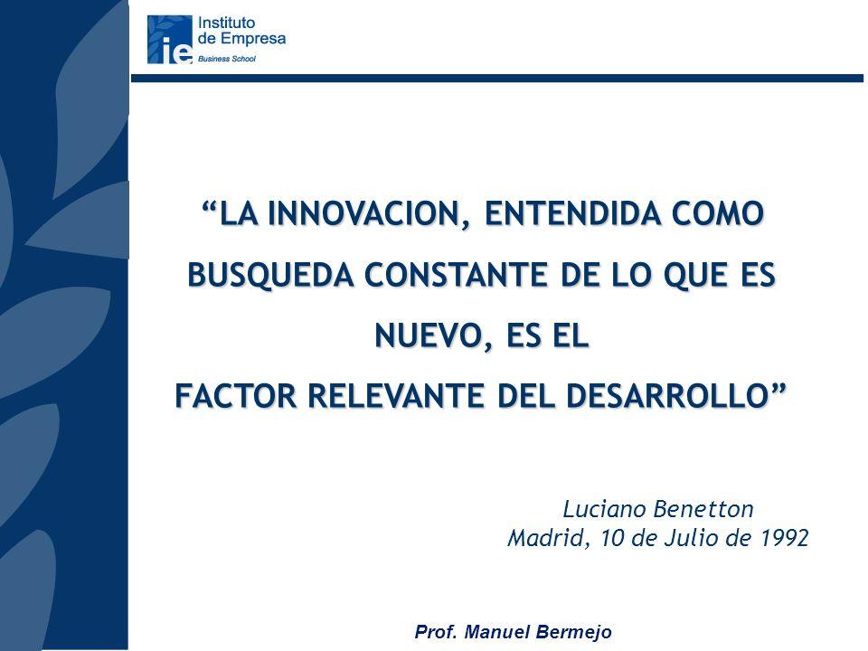 Prof. Manuel Bermejo BENETTON AYER 1.965: FABRICACION PRENDAS PUNTO 4 HERMANOS, MANUAL BENETTON HOY 230.000 MM DE FACTURACION 14 FABRICAS, 10.000 EMPL