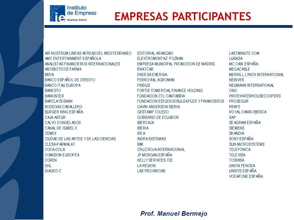 Prof. Manuel Bermejo Fundada en 1973 Acreditada por AMBA; AACSB; Equis Reconocimiento internacional 1º Posición de España, 3º de Europa y 12ª del mund