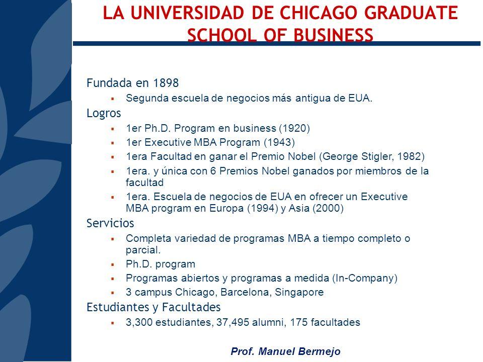 Prof. Manuel Bermejo Este es un programa conjunto joint program entre Instituto de Empresa y Chicago Graduate School of Businesss: Dise ñ o del Progra