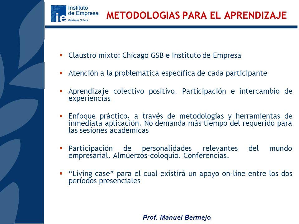 Prof. Manuel Bermejo Enfocando la Estrategia Desarrollando las capacidades de liderazgo Optimizando la eficiencia de la organización Análisis geoestra