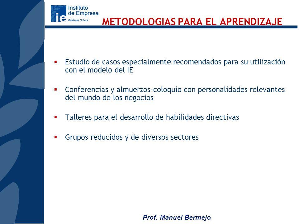 Prof. Manuel Bermejo CUATRO MODULOS BASICOS Desarrollo de visión estratégica Análisis macroeconómico: principales tendencias de la economía nacional e