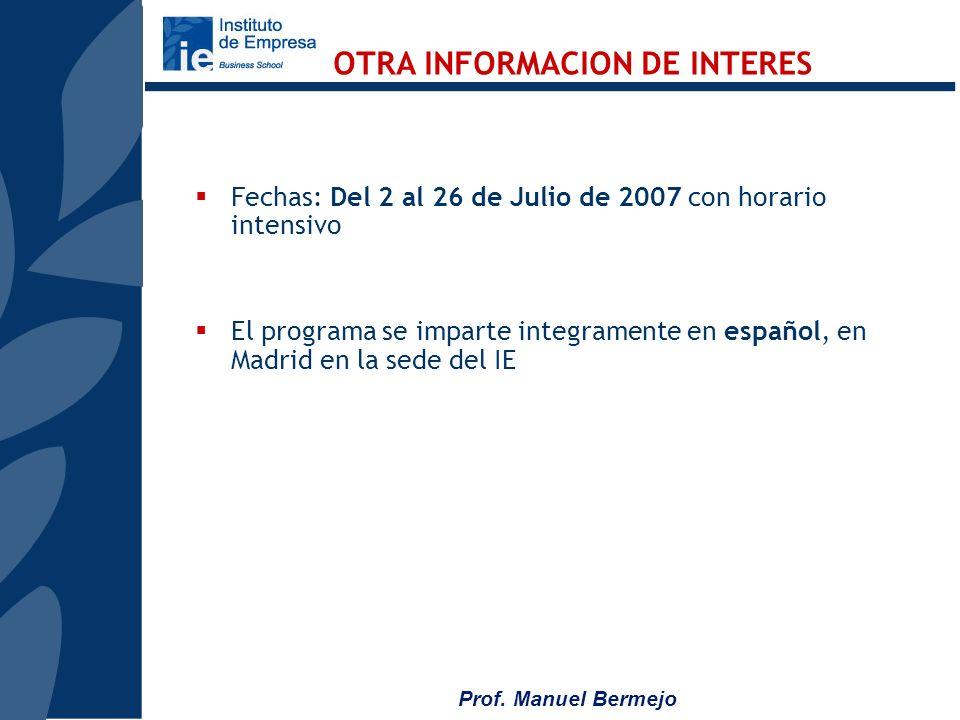 Prof. Manuel Bermejo Estudio de casos especialmente recomendados para su utilización con el modelo del IE Conferencias y almuerzos-coloquio con person