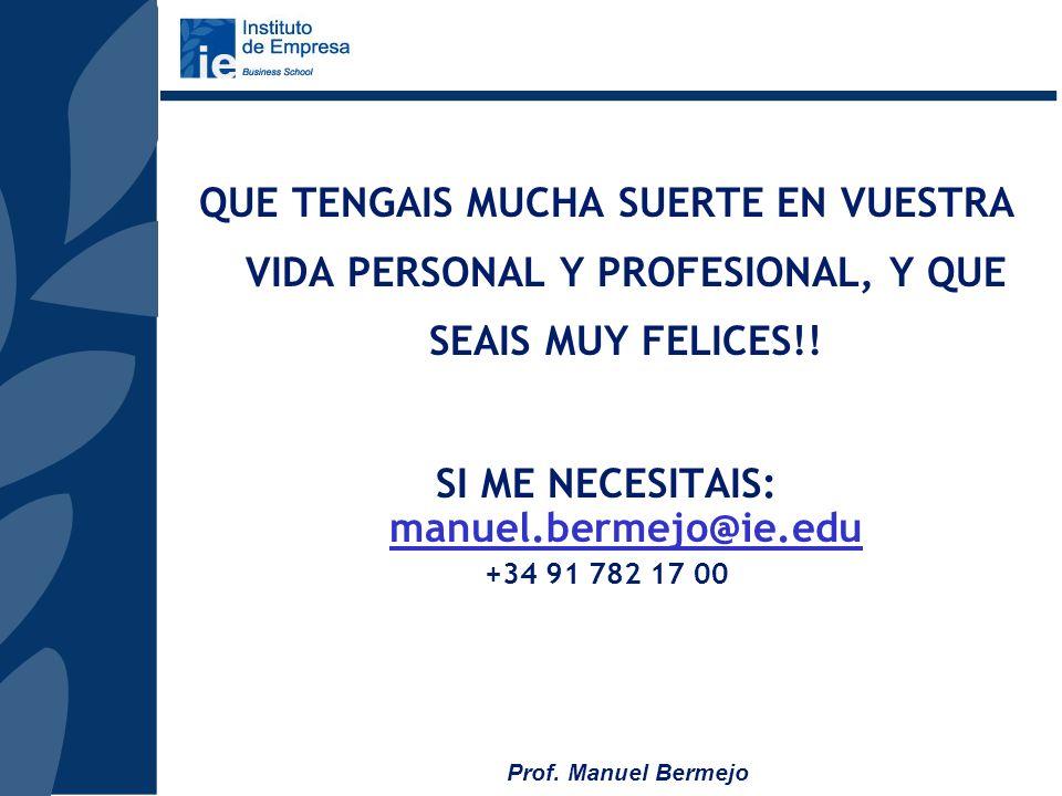 Prof. Manuel Bermejo SMP Programa en español Se imparte en 9 módulos de viernes/sábado Del 11 enero al 22 de marzo de 2008 AMP Blended Programa en ing