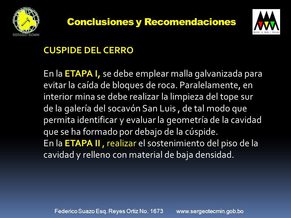 Federico Suazo Esq. Reyes Ortiz No. 1673 www.sergeotecmin.gob.bo Conclusiones y Recomendaciones CUSPIDE DEL CERRO En la ETAPA I, se debe emplear malla