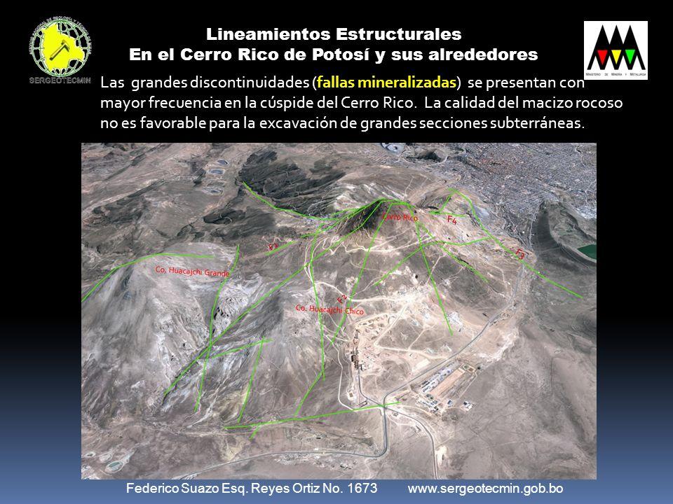 Federico Suazo Esq. Reyes Ortiz No. 1673 www.sergeotecmin.gob.bo F4 F2 F1 F3 Co. Huacajchi Grande Co. Huacajchi Chico Cerro Rico Lineamientos Estructu