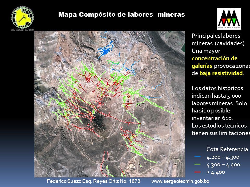 Federico Suazo Esq. Reyes Ortiz No. 1673 www.sergeotecmin.gob.bo Mapa Compósito de labores mineras Cota Referencia 4.200 - 4.300 4.300 – 4.400 > 4.400