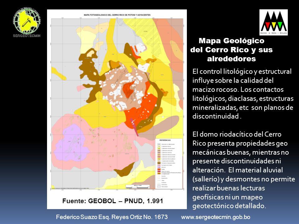 Federico Suazo Esq. Reyes Ortiz No. 1673 www.sergeotecmin.gob.bo Mapa Geológico del Cerro Rico y sus alrededores El control litológico y estructural i