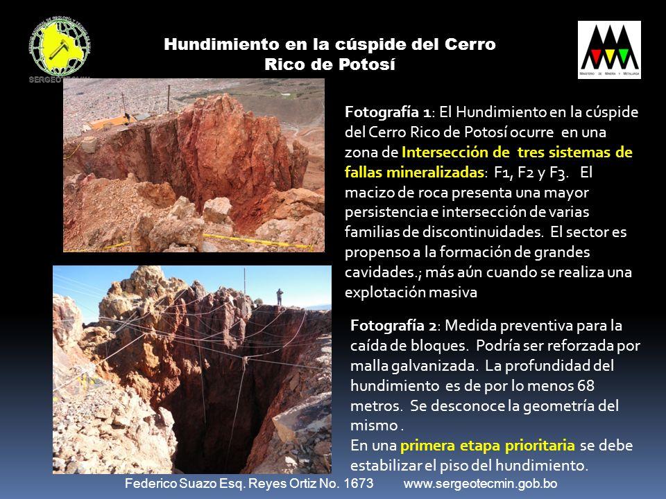 Federico Suazo Esq. Reyes Ortiz No. 1673 www.sergeotecmin.gob.bo Hundimiento en la cúspide del Cerro Rico de Potosí Fotografía 1: El Hundimiento en la