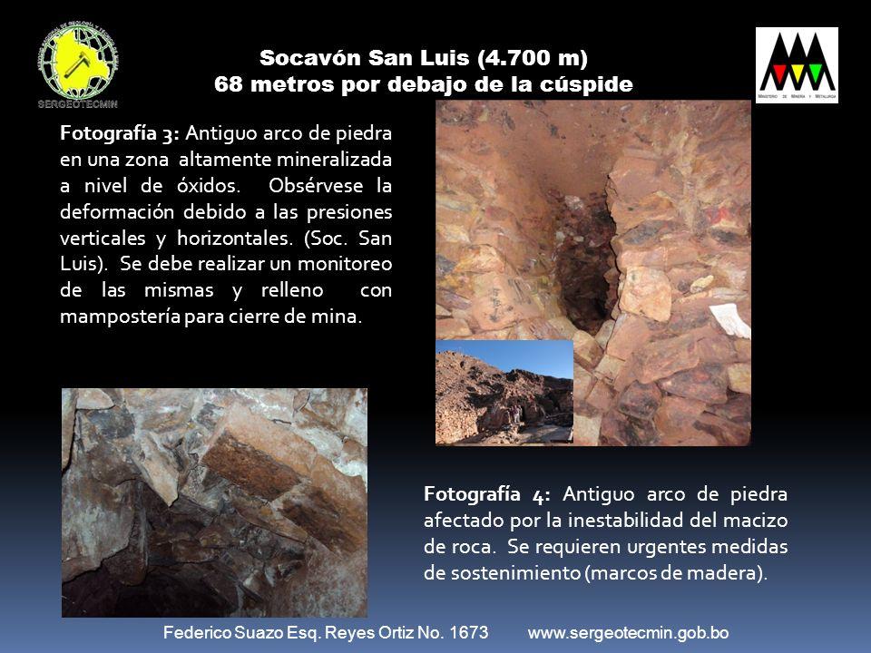 Federico Suazo Esq. Reyes Ortiz No. 1673 www.sergeotecmin.gob.bo Socavón San Luis (4.700 m) 68 metros por debajo de la cúspide Fotografía 3: Antiguo a