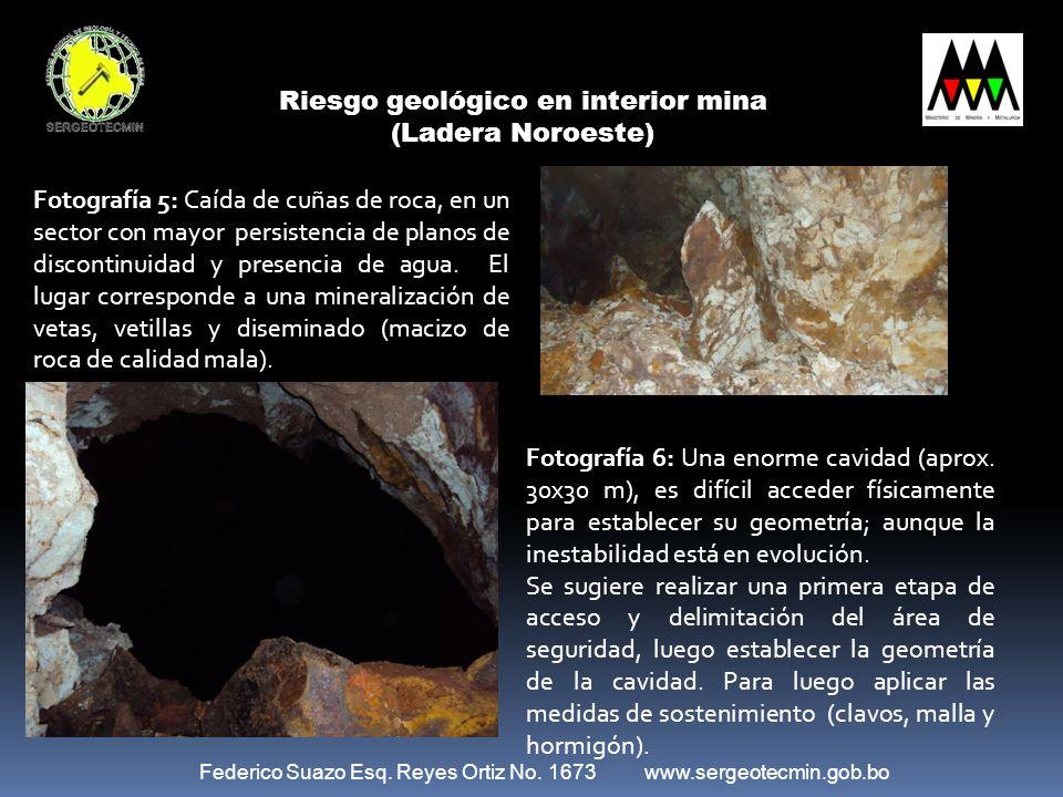 Federico Suazo Esq. Reyes Ortiz No. 1673 www.sergeotecmin.gob.bo Riesgo geológico en interior mina (Ladera Noroeste) Fotografía 5: Caída de cuñas de r