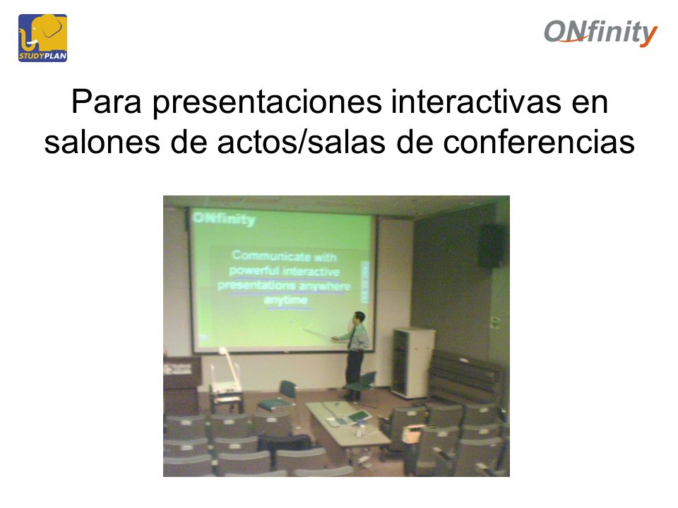 Para presentaciones interactivas en salones de actos/salas de conferencias