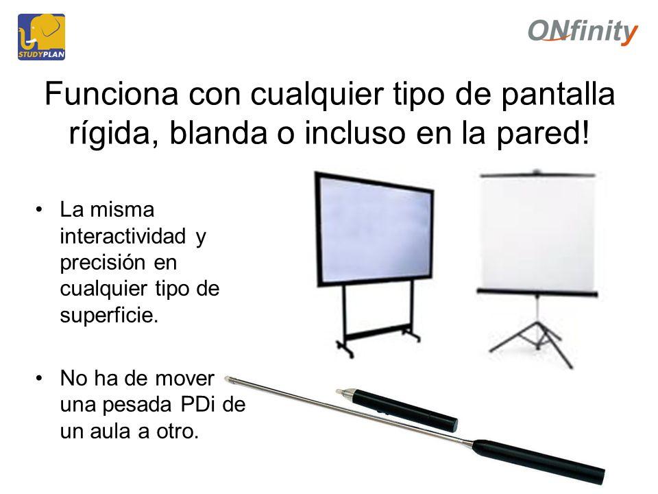 Funciona con cualquier tipo de pantalla rígida, blanda o incluso en la pared.