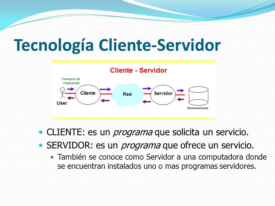 Tecnología Cliente-Servidor CLIENTE: es un programa que solicita un servicio. SERVIDOR: es un programa que ofrece un servicio. También se conoce como