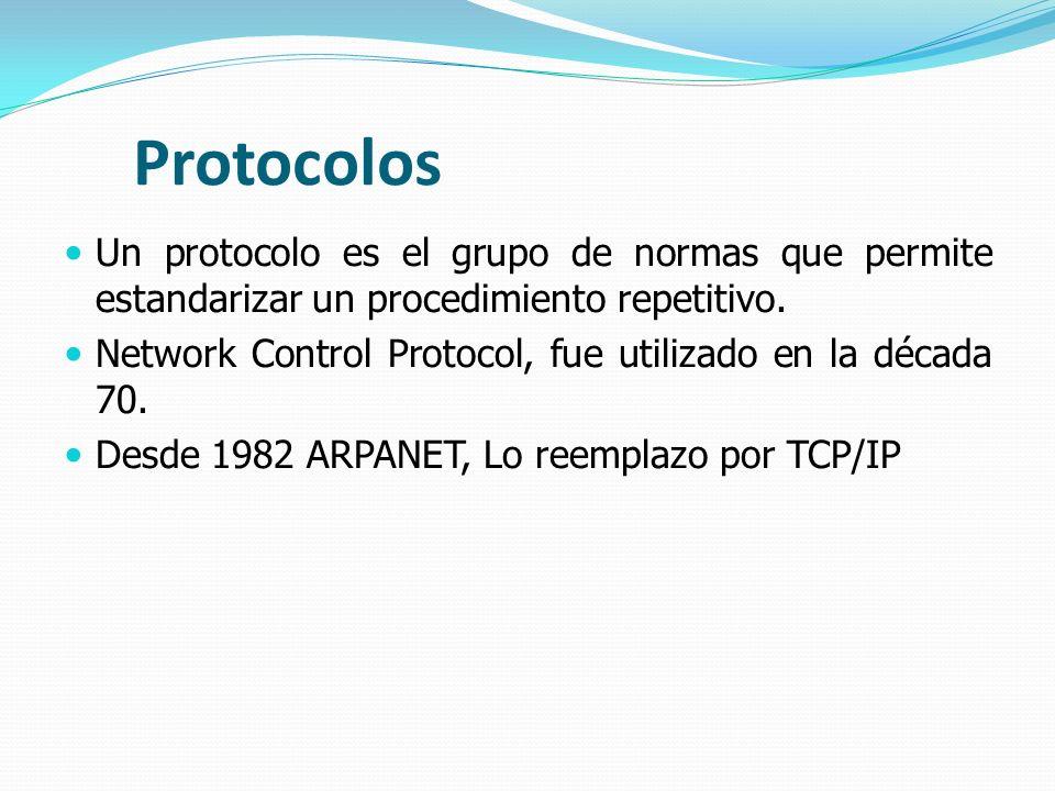 Protocolos Un protocolo es el grupo de normas que permite estandarizar un procedimiento repetitivo. Network Control Protocol, fue utilizado en la déca