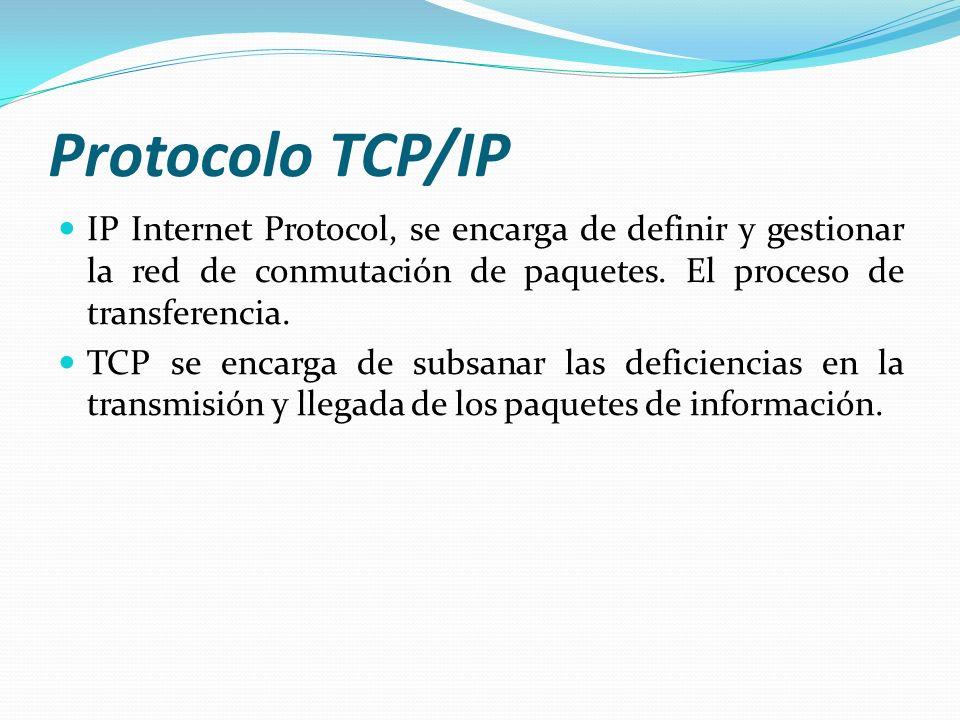 Protocolo TCP/IP IP Internet Protocol, se encarga de definir y gestionar la red de conmutación de paquetes. El proceso de transferencia. TCP se encarg