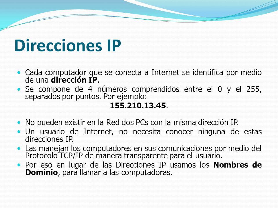 Direcciones IP Cada computador que se conecta a Internet se identifica por medio de una dirección IP. Se compone de 4 números comprendidos entre el 0
