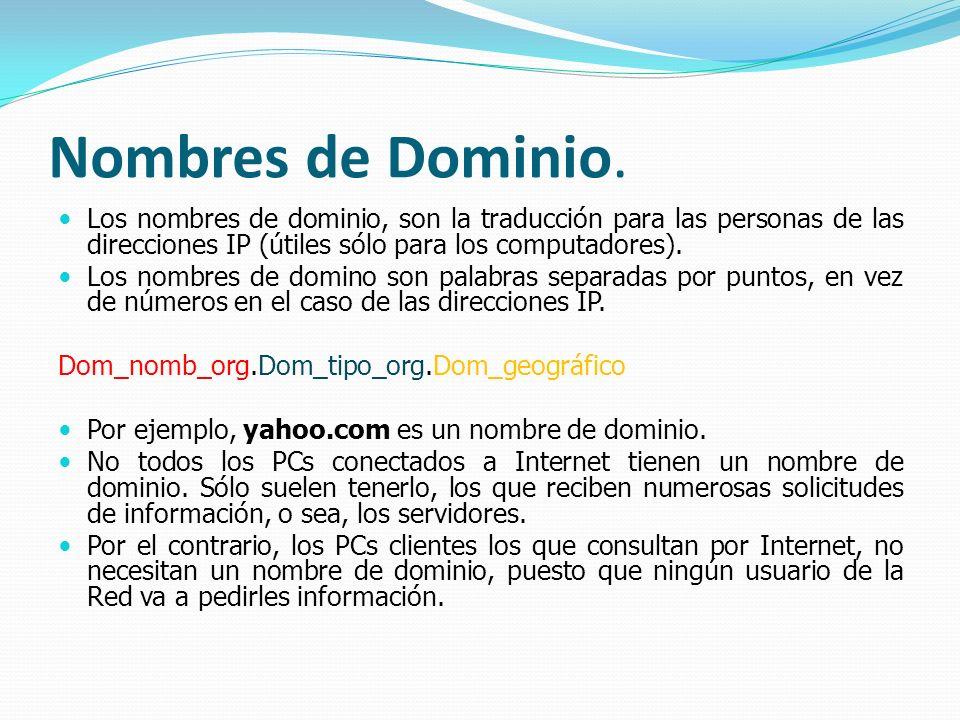 Nombres de Dominio. Los nombres de dominio, son la traducción para las personas de las direcciones IP (útiles sólo para los computadores). Los nombres