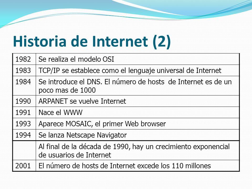 Historia de Internet (2) 1982Se realiza el modelo OSI 1983TCP/IP se establece como el lenguaje universal de Internet 1984Se introduce el DNS. El númer