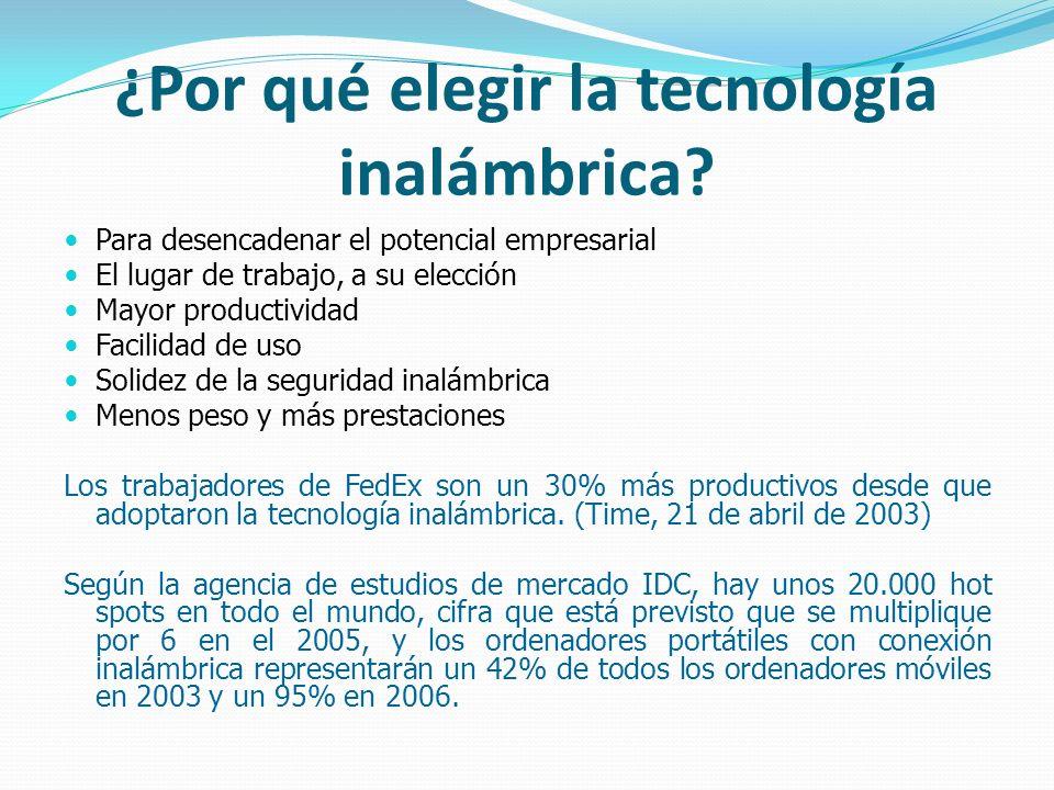 ¿Por qué elegir la tecnología inalámbrica? Para desencadenar el potencial empresarial El lugar de trabajo, a su elección Mayor productividad Facilidad