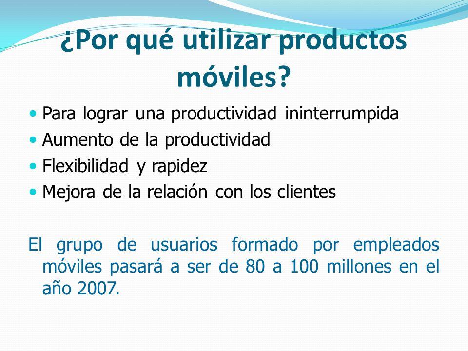 ¿Por qué utilizar productos móviles? Para lograr una productividad ininterrumpida Aumento de la productividad Flexibilidad y rapidez Mejora de la rela